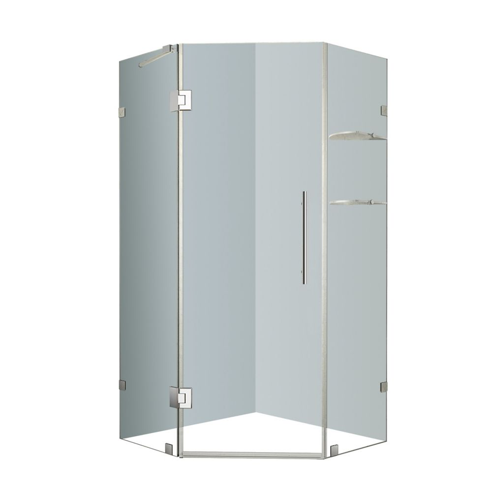 Neoscape 38-Inch  x 38-Inch  x 72-Inch  Frameless Shower Stall with Glass Shelves in Chrome