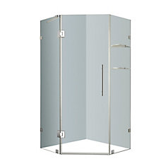 Neoscape 34-Inch x 34-Inch x 72-Inch Frameless Shower Stall with Glass Shelves in Stainless Steel