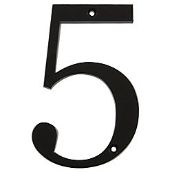 Hillman 4 Inch Black House Number 5