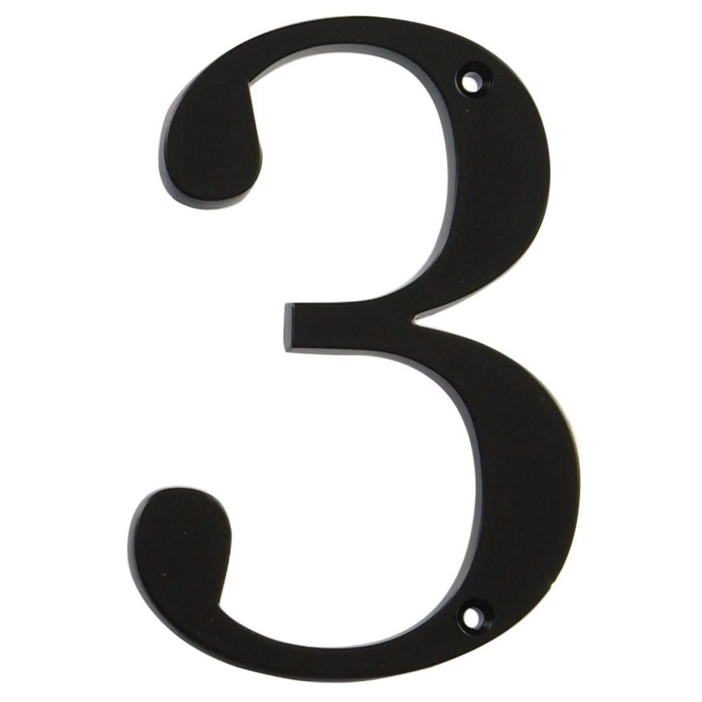 4 Inch Black House Number 3