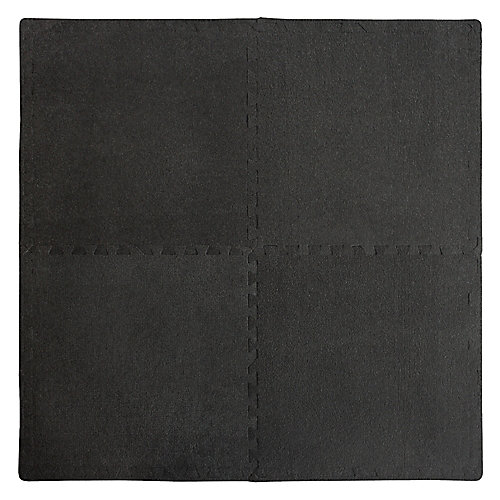 Connect-A-Rug Anti-Fatigue Mat with Borders in Black (4-Pack)