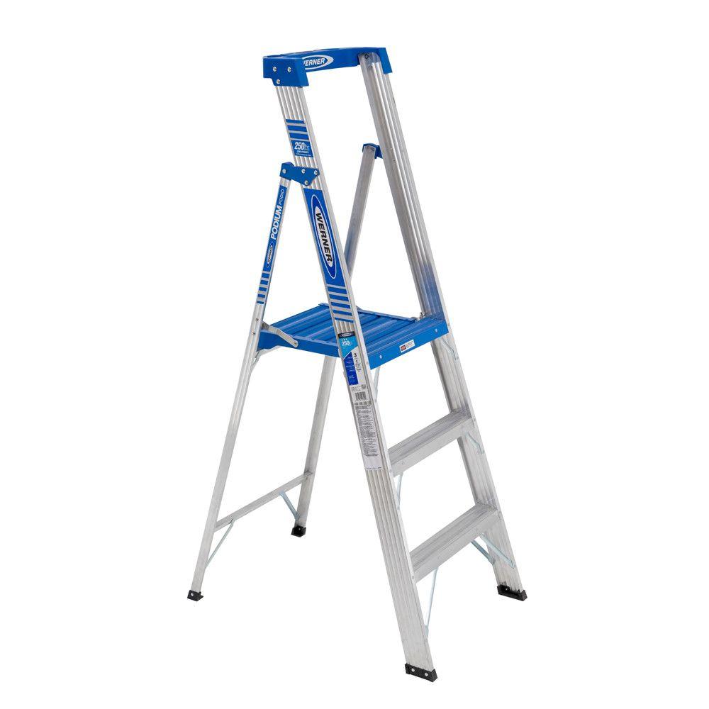 9 Feet Reach Aluminum Podium Ladder With 250 Lb. Load Capacity Grade I