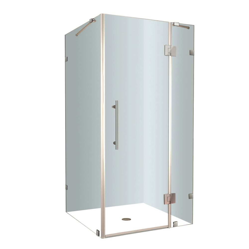 Avalux 38 In. x 38 In. x 72 In. Completely Frameless Shower Enclosure in Stainless Steel SEN987-SS-38-10 Canada Discount