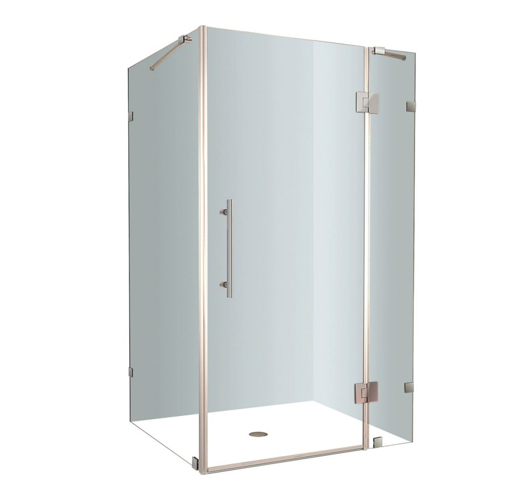 Avalux 40-Inch  x 32-Inch  x 72-Inch  Frameless Shower Stall in Stainless Steel