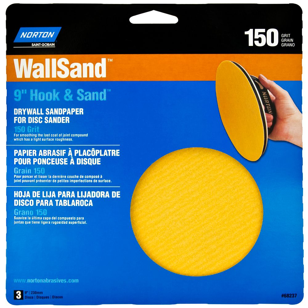 9 Inch  Wallsand Hook & Loop Disc 150 Grit 3PK Handy Pack