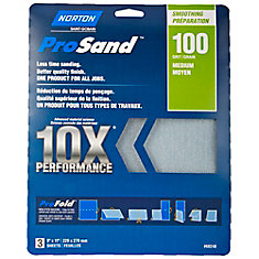 Prosand 10X Performance Sandpaper 9 Inch X11 Inch 100-M (3-Pack)