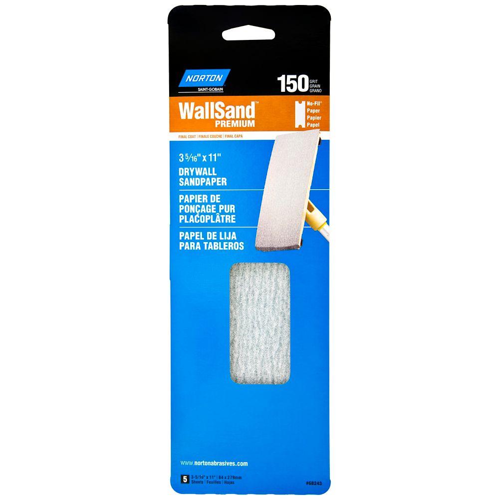 Wallsand Drywall Sandpaper 3-5/16 Inch X11 Inch  150 Grit 5PK Handy Pack