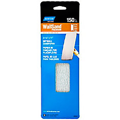 Wallsand Drywall Sandpaper 3-5/16 Inch X11 Inch  150 Grit 5PK Handy Pack