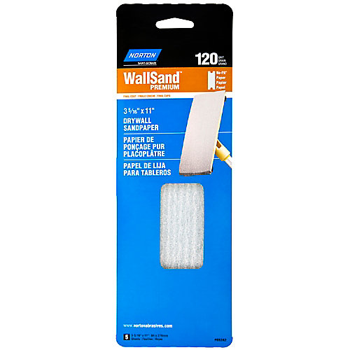 Wallsand Drywall Sandpaper 3-5/16 Inch X11 Inch  120 Grit Handy Pack (5-Pack)