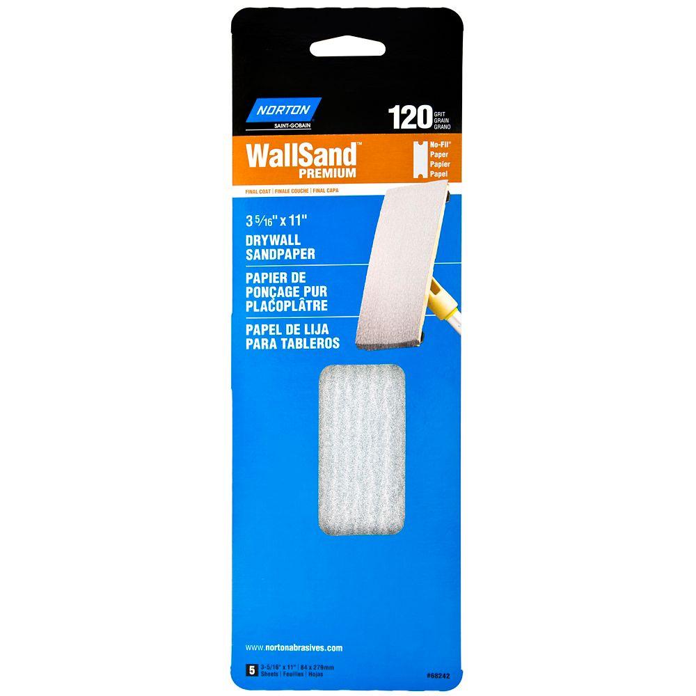 Wallsand Drywall Sandpaper 3-5/16 Inch X11 Inch  120 Grit 5PK Handy Pack