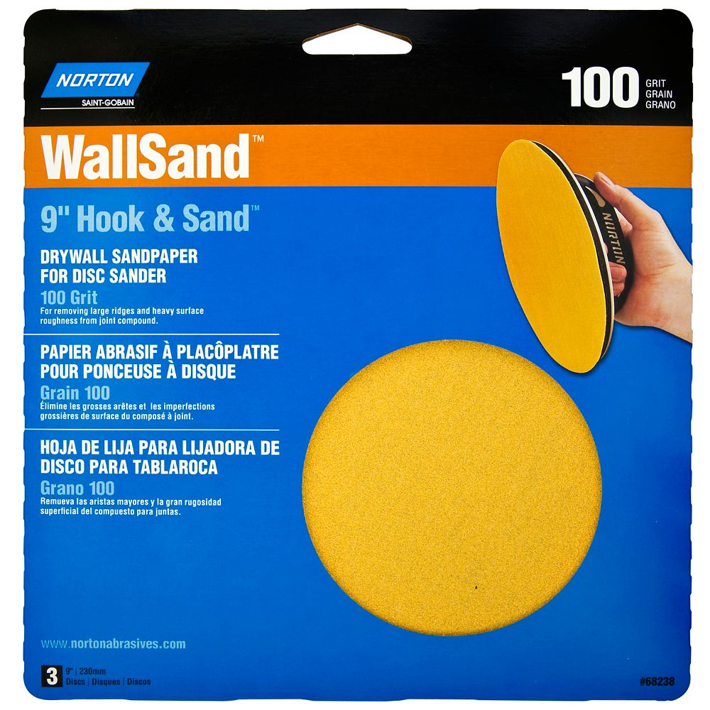 9 Inch  Wallsand Hook&Loop Disc 100 Grit  3PK Handy Pack