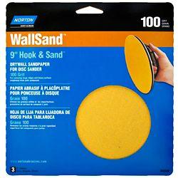 Norton 9-inch Wallsand Hook & Loop Disc 100 Grit (3-Pack)