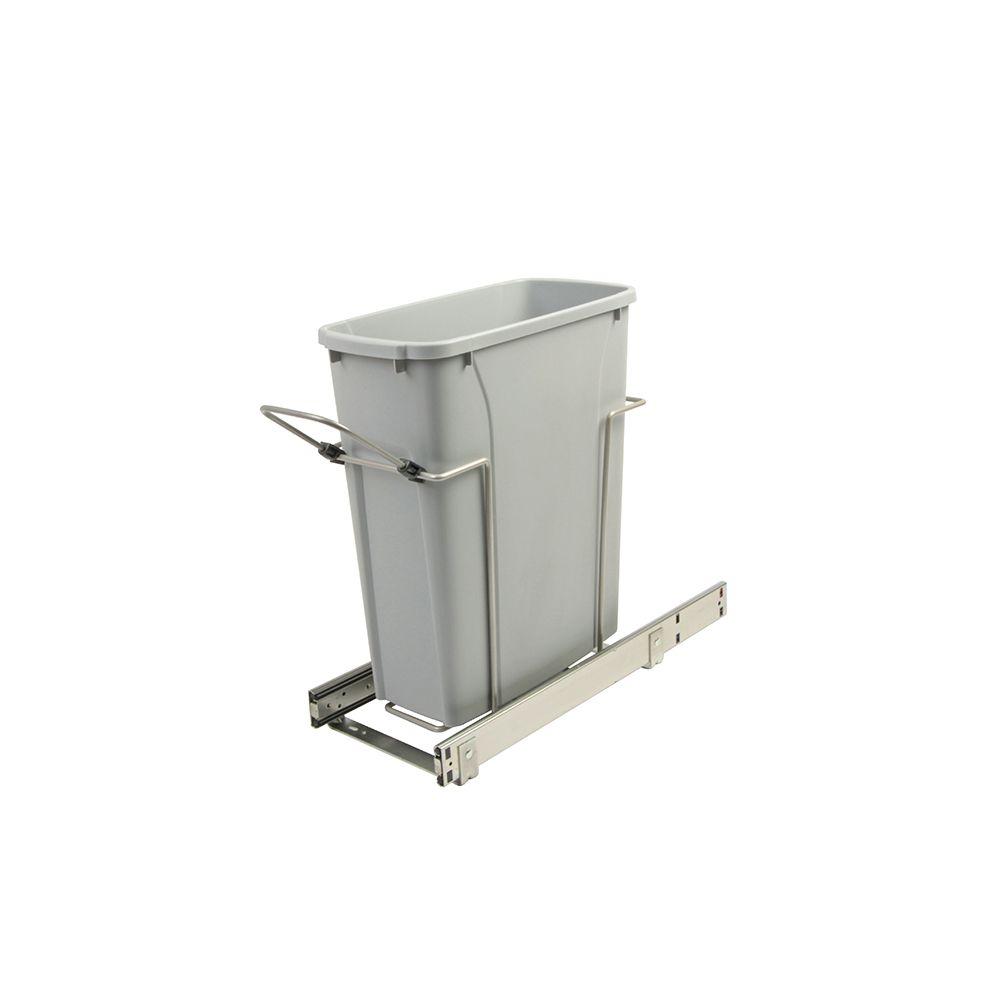 Poubelle coulissante simple encastrée dans l'armoire de 19 litres à fermeture amortie et à montag...