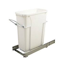 Knape & Vogt 8.375-inch x 20.125-inch x 17.313-inch 18.9 L In-Cabinet Single Bottom-Mount Pull-Out Trash Can