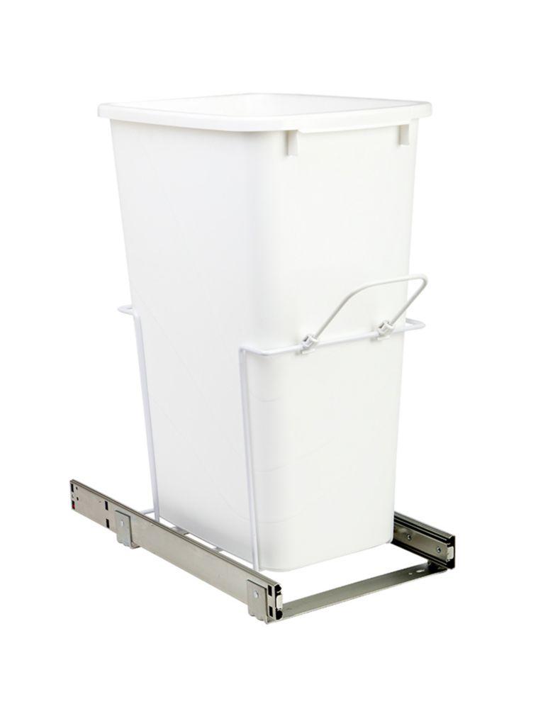 Poubelle coulissante simple encastrée dans l'armoire de 47.3 litres à fermeture amortie et à mont...