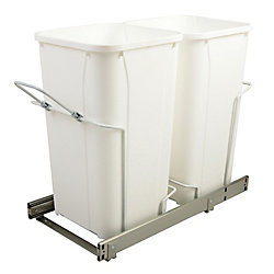Knape & Vogt 11-inch x 22-inch x 18.75-inch 25.5 L In-Cabinet Double Soft-Close Bottom-Mount Pull-Out Trash Can