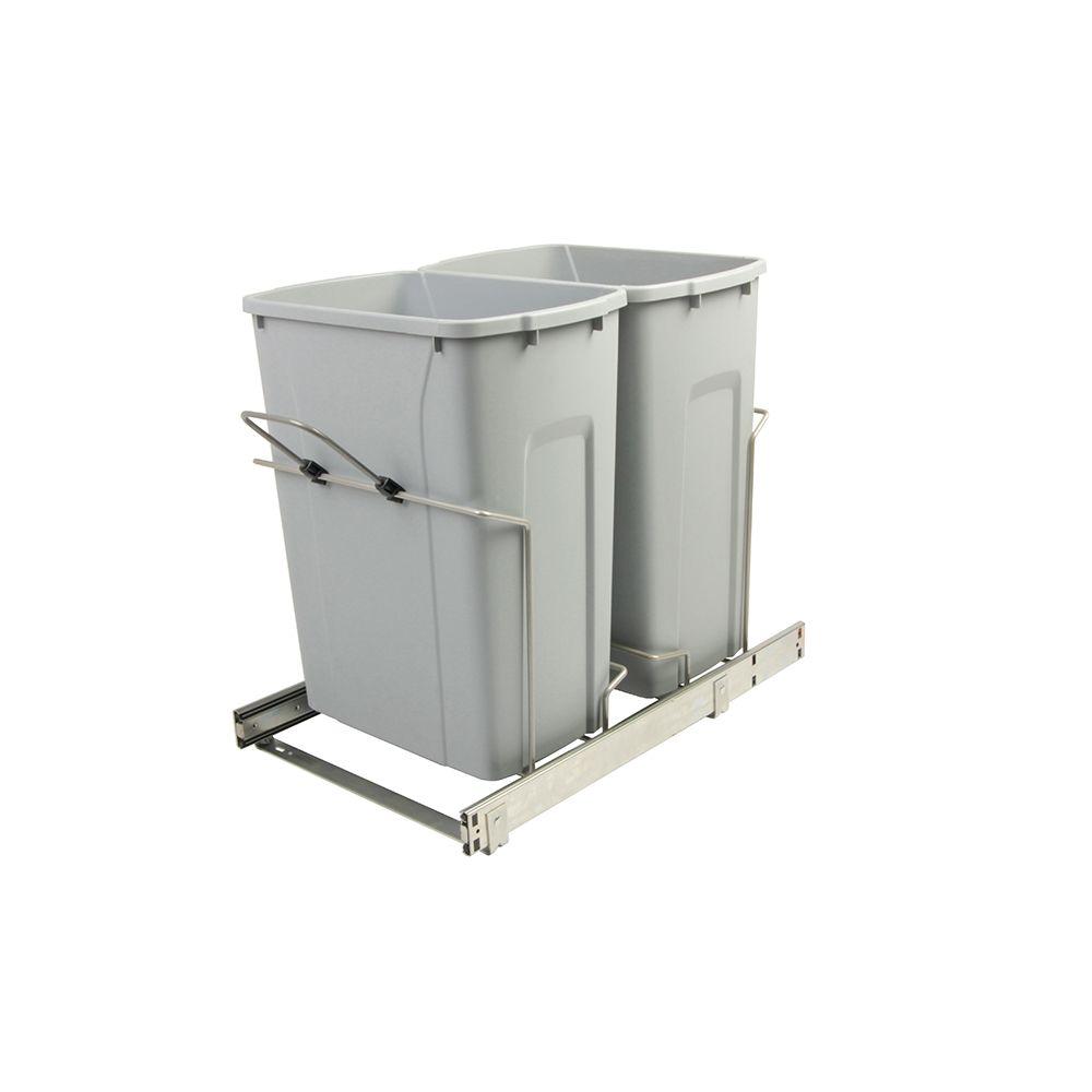 Poubelle coulissante double encastrée dans l'armoire de 33 litres à fermeture amortie et à montag...
