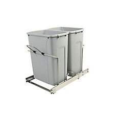 14.375-inch x 22-inch x 18.75-inch 33.1 L In-Cabinet Double Bottom-Mount Pull-Out Trash Can