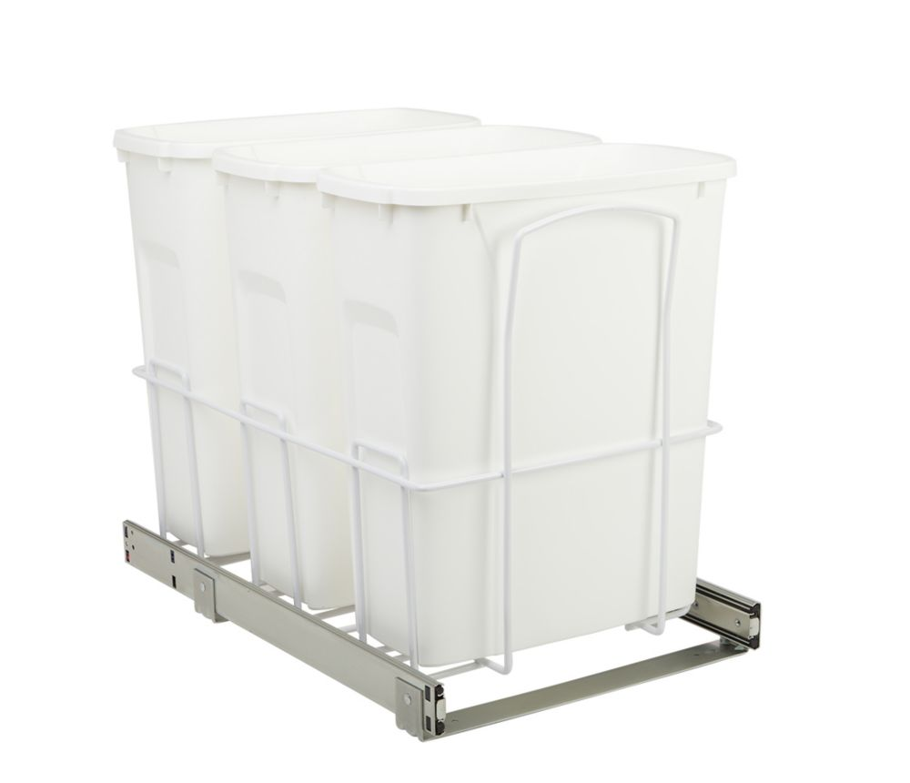 22 X 14.375 X 17.313 In-Cabinet Triple Soft-Close Bottom-Mount 20 Qt. Pull-Out Trash Can