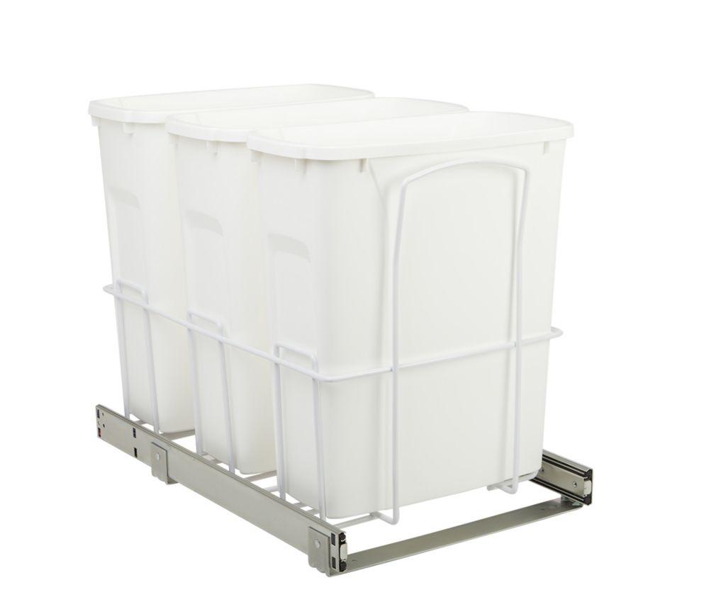 Poubelle coulissante triple encastrée dans l'armoire de 19 litres à fermeture amortie et à montag...