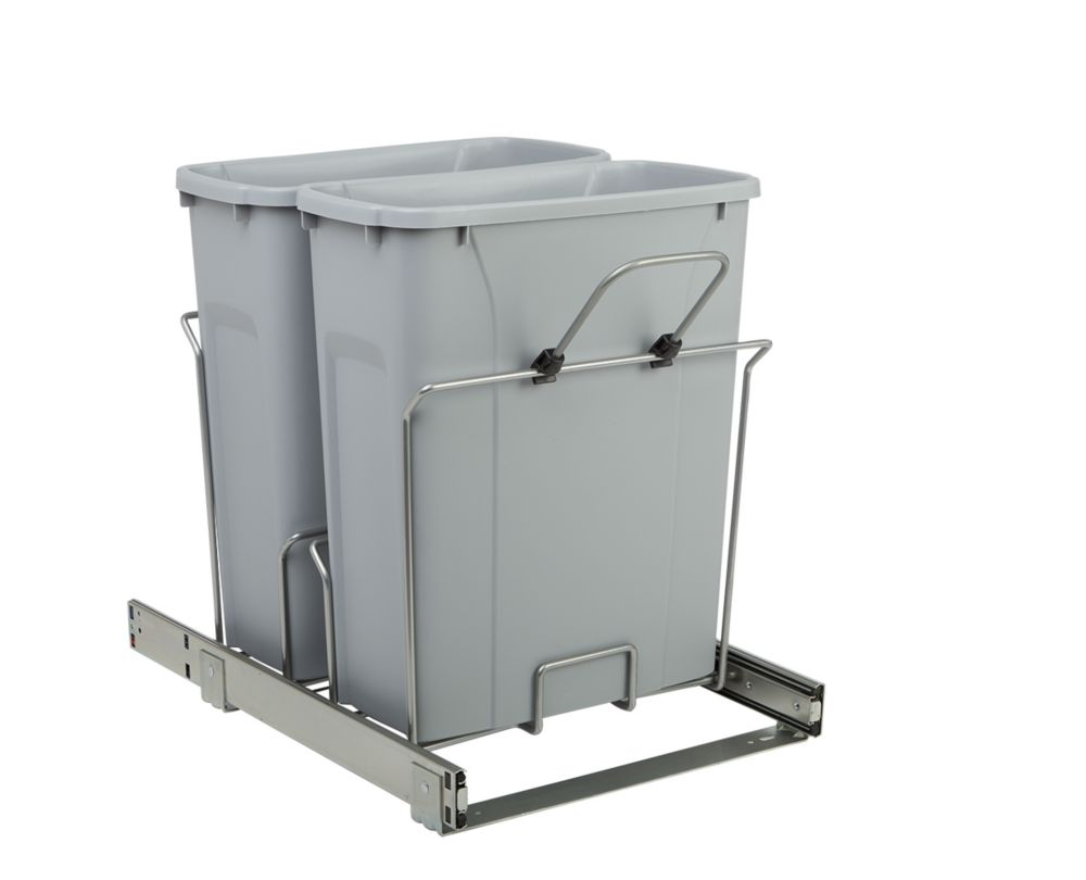 Poubelle coulissante double encastrée dans l'armoire de 19 litres à fermeture amortie et à montag...