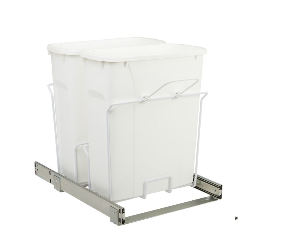 20.125 X 14.375 X 17.313 In-Cabinet Double Soft-Close Bottom-Mount 20 Qt. Pull-Out Trash Can