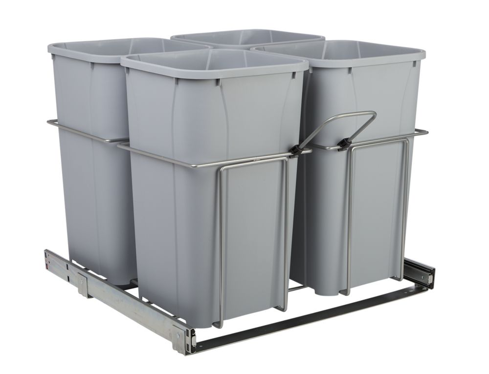 22 X 23.375 X 19 In-Cabinet Four-Bin Soft-Close Bottom-Mount 27 Qt. Pull-Out Trash Can