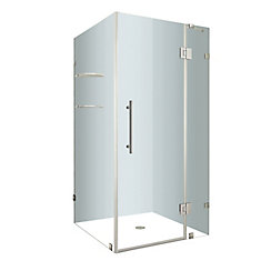 Avalux GS 36-Inch  x 36-Inch  x 72-Inch  Frameless Shower Stall with Glass Shelves in Chrome