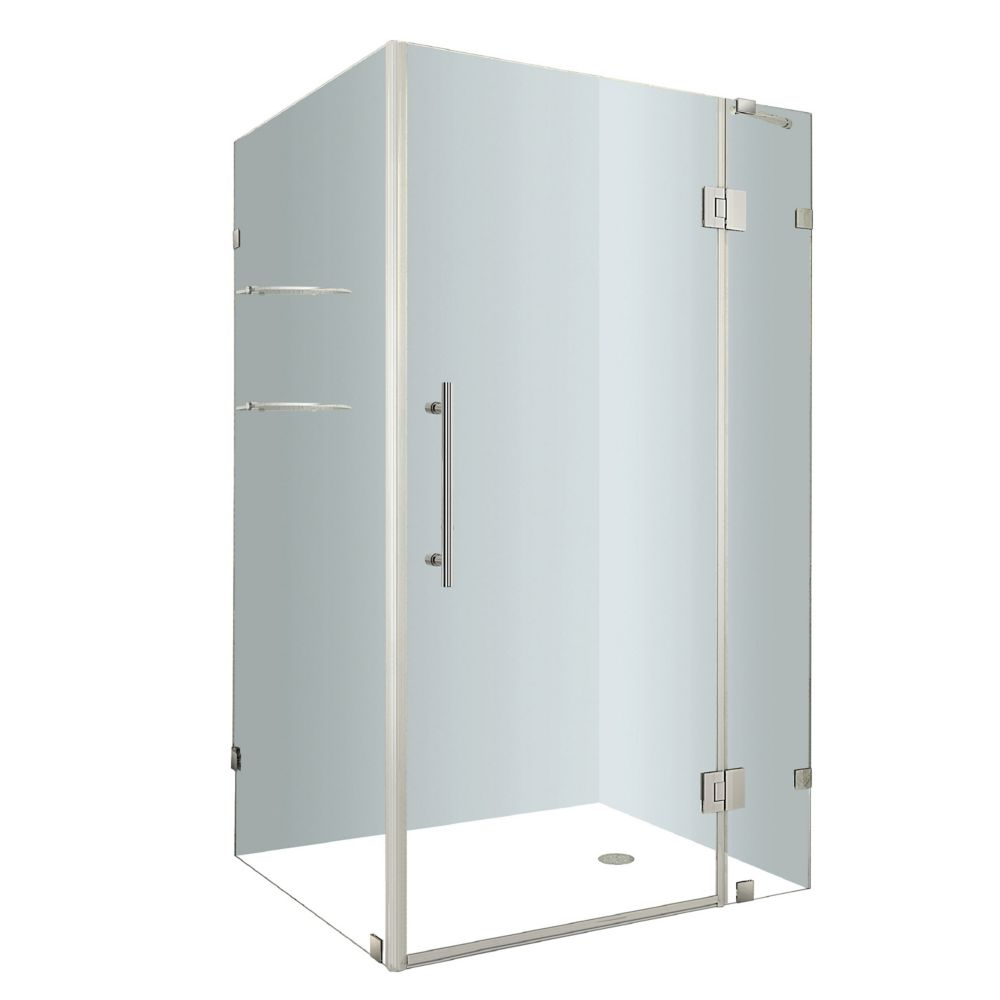 Aston Avalux GS 48-Inch  x 32-Inch  x 72-Inch  Frameless Shower Stall with Glass Shelves in Chrome
