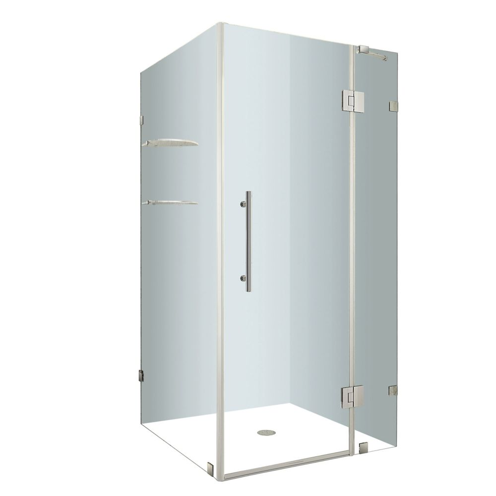 Avalux GS 32-Inch  x 32-Inch  x 72-Inch  Frameless Shower Stall with Glass Shelves in Stainless S...