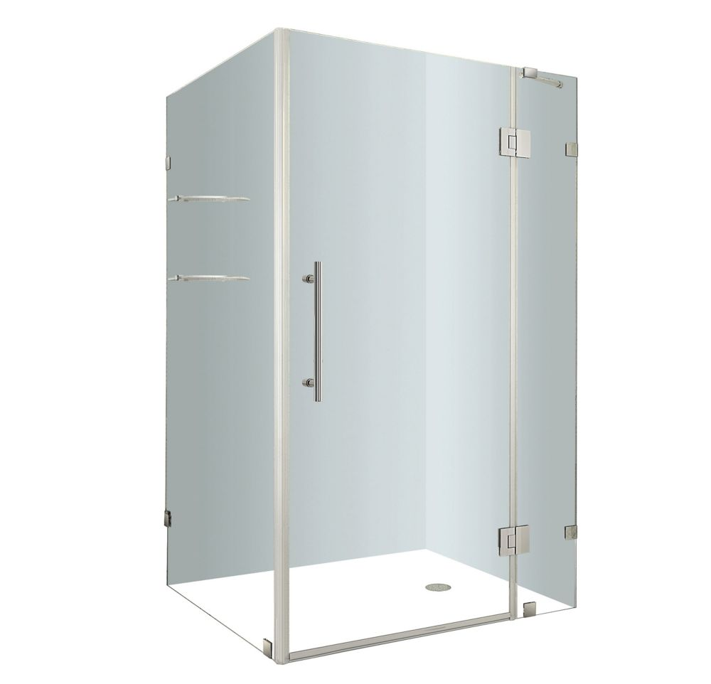 Avalux GS 48-Inch  x 32-Inch  x 72-Inch  Frameless Shower Stall with Glass Shelves in Stainless S...