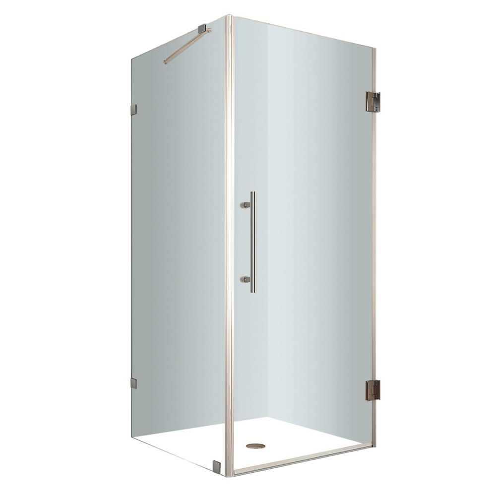 Aston Aquadica 36-Inch  x 36-Inch  x 72-Inch  Frameless Square Shower Stall in Stainless Steel