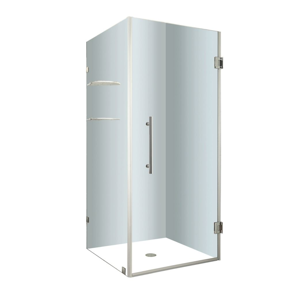 Aquadica GS 34 In. x 34 In. x 72 In. Completely Frameless Square Shower Enclosure with Glass Shelves in Stainless Steel SEN993-SS-34-10 Canada Discount