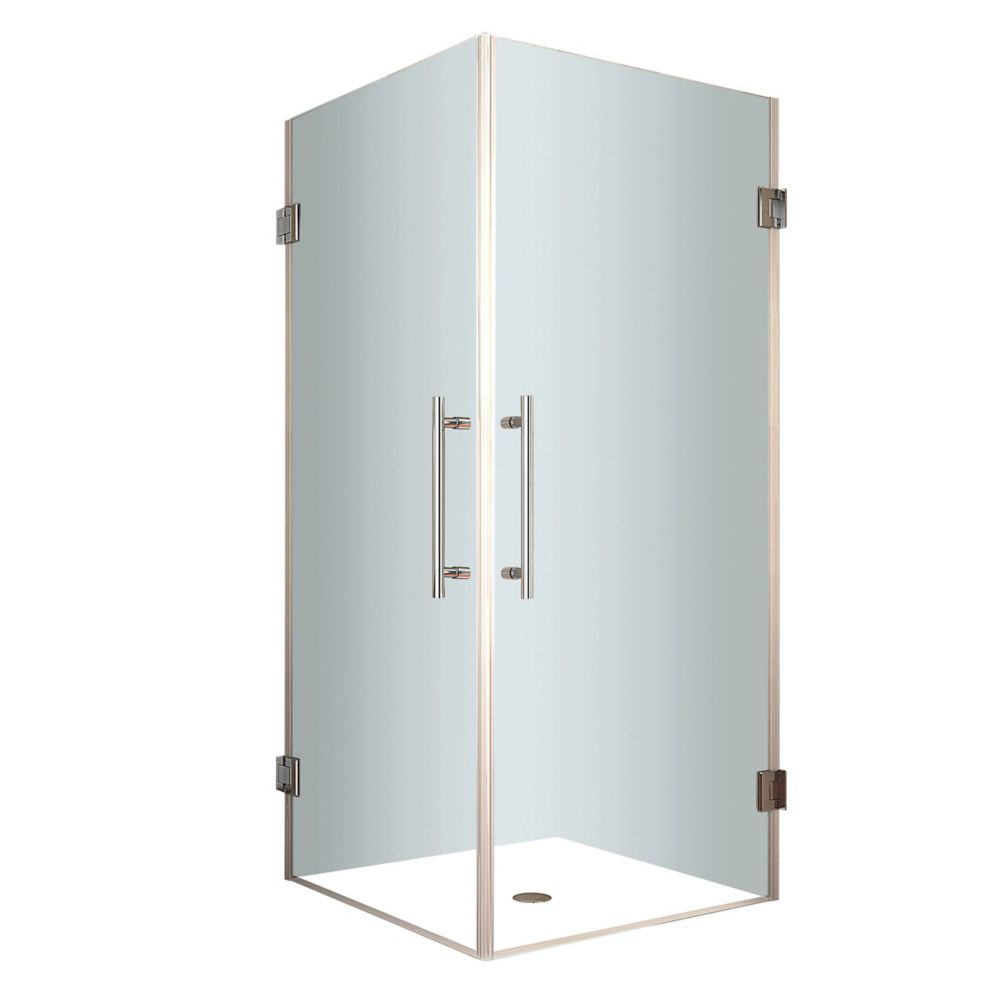 Vanora 30-Inch  x 30-Inch  x 72-Inch  Frameless Square Shower Stall in Stainless Steel