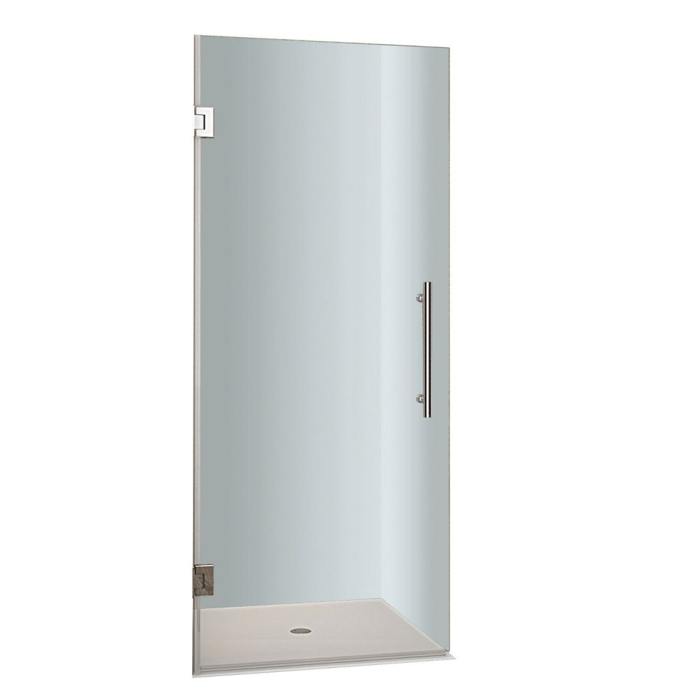 Cascadia 22 In. x 72 In. Completely Frameless Hinged Shower Door in Stainless Steel