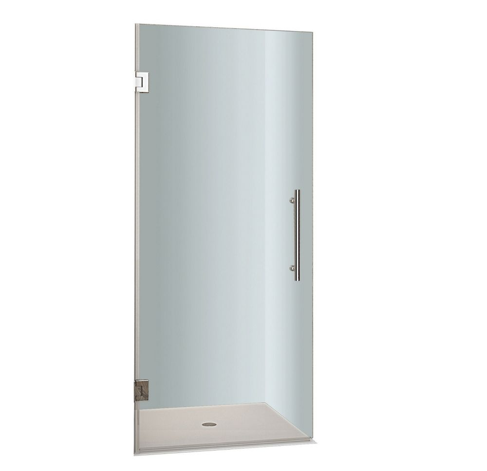 Cascadia 27 In. x 72 In. Completely Frameless Hinged Shower Door in Stainless Steel