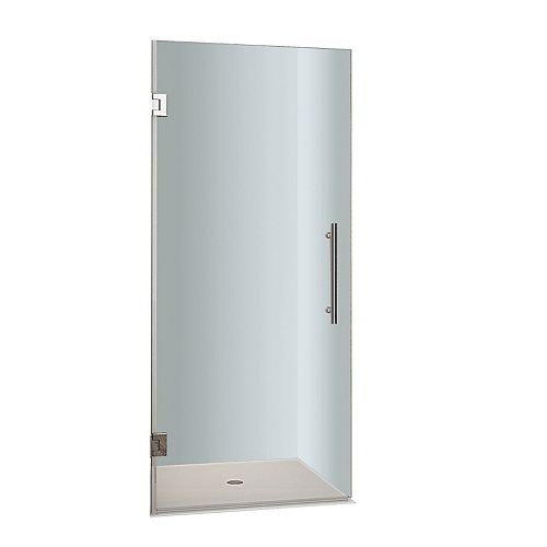 Aston Cascadia 30-inch x 72-inch Completely Frameless Hinged Shower Door in Stainless Steel