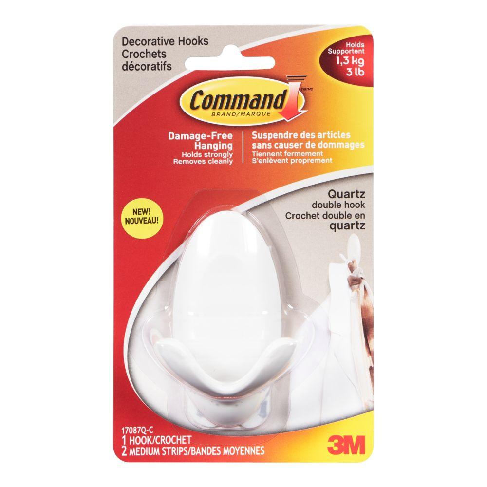 Command Medium Double Hook 17087Q-C, quartz