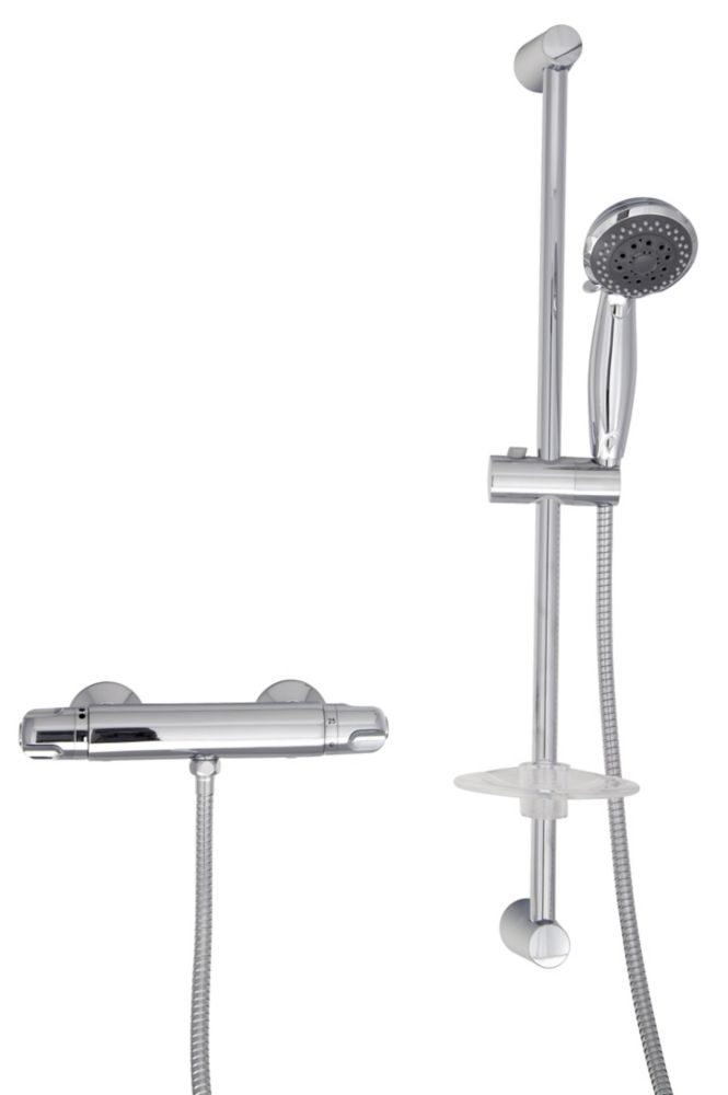 Thermostatic Shower Faucet with Hand Shower and Sliding Rail Set in Chrome