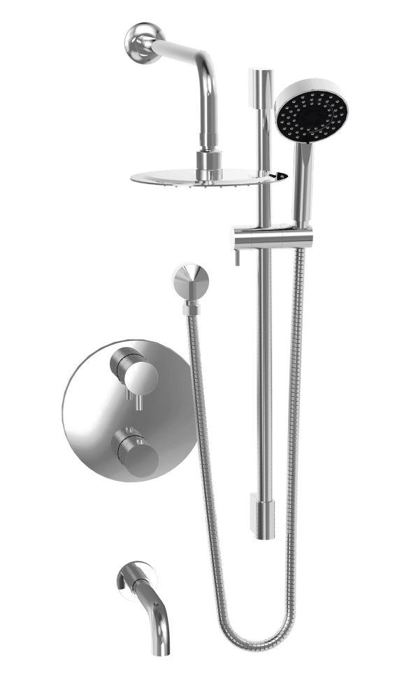 Ensemble de robinet thermostatique avec tête pluie, bec de bain et douchette sur rail - Chrome