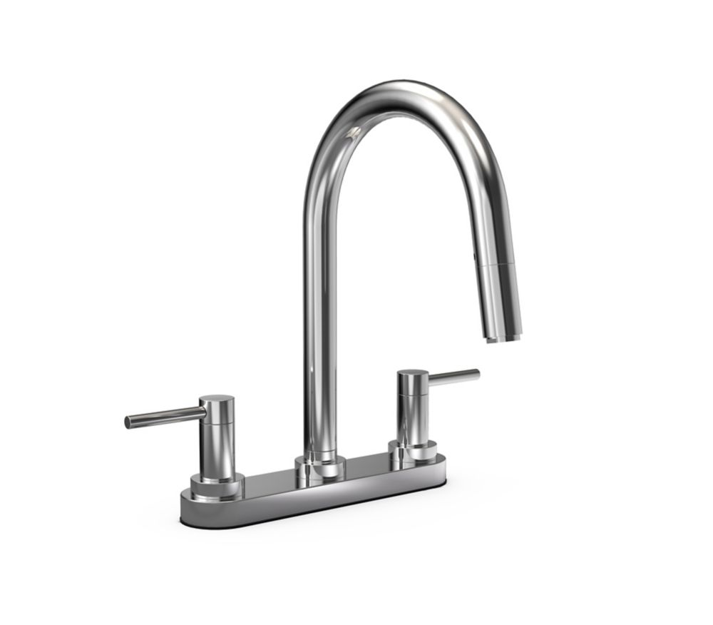 JALO Moderno 2 Handle Pull Down Kitchen Faucet Chrome