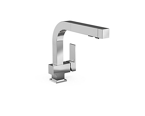 JALO Carré Single Lever Pull-Out Kitchen Faucet - Chrome | The Home ...