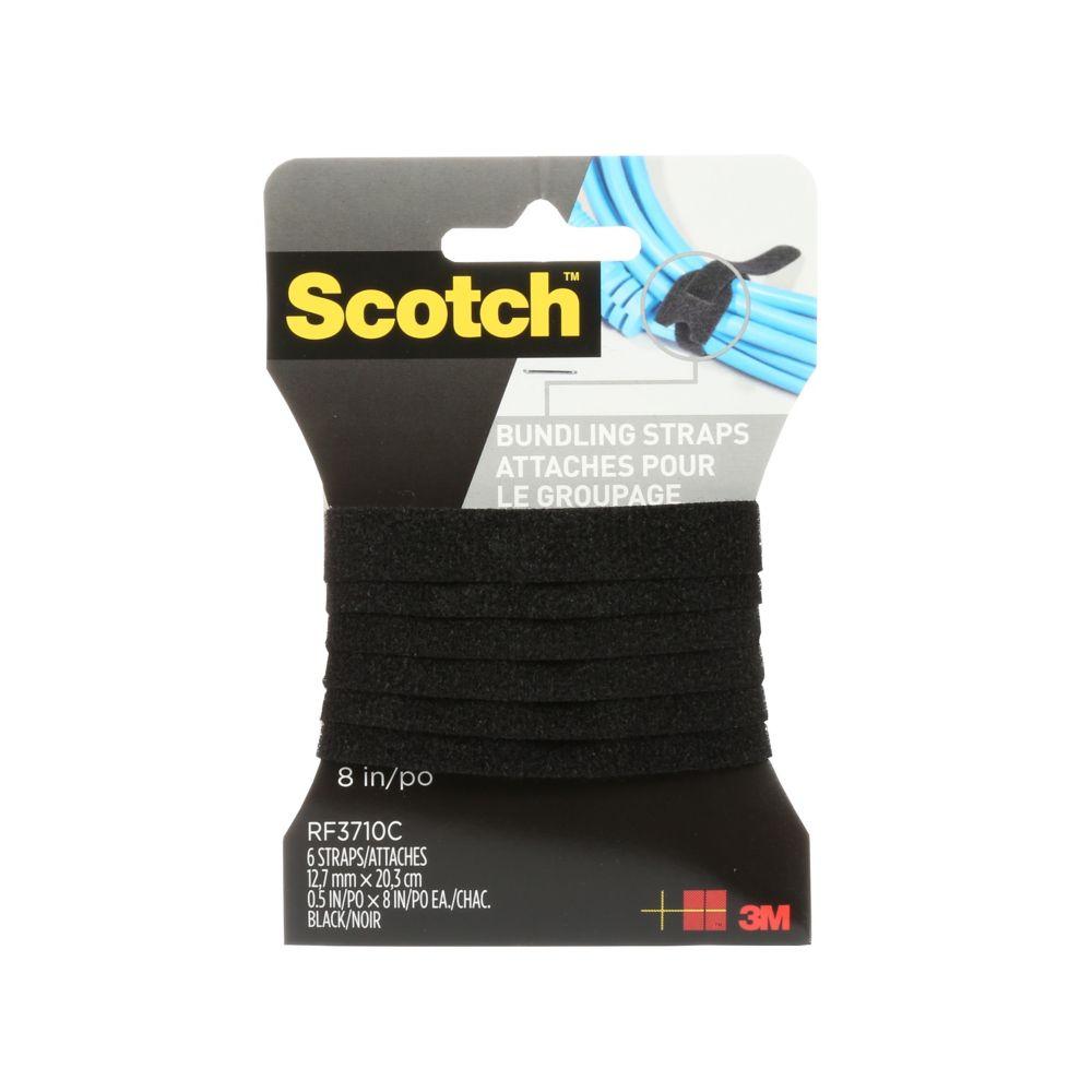 Attaches pour le groupage ScotchMC, 6attaches, 0,5 x 8po, noir