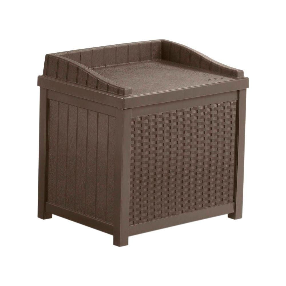 Suncast 2.9 cu. ft. Resin Wicker Deck Box with Seat in Brown SSW1200