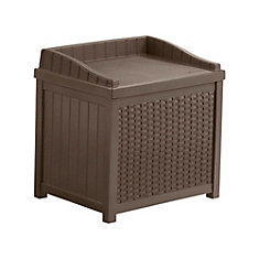 2.9 cu. ft. Resin Wicker Deck Box with Seat in Brown
