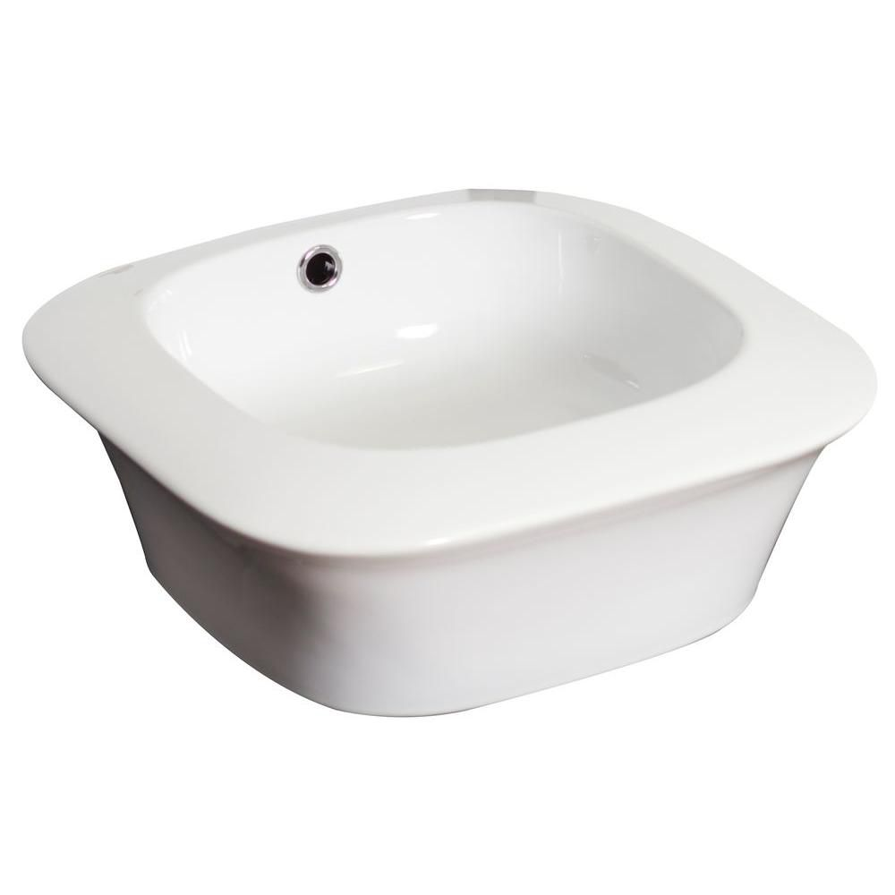 17-inch W x 17-inch D Square Vessel Sink in White with Brushed Nickel