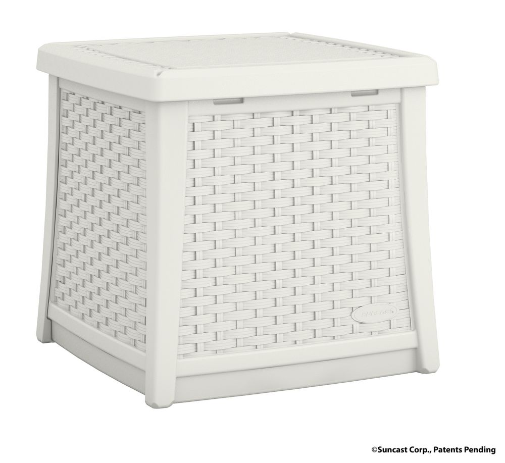 Side Table Deck Box, White