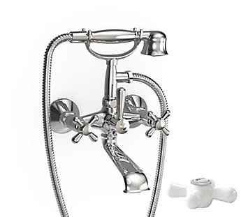 Jalo Majestic Wall Mount Tub Shower Faucet In Chrome The Home