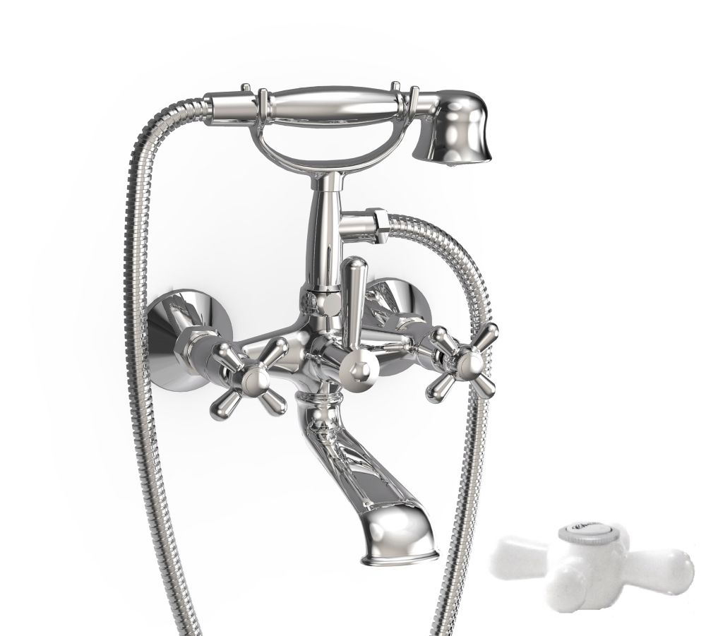 Majestic Wall-Mounted Bath/Shower Faucet with Hand Shower in Chrome