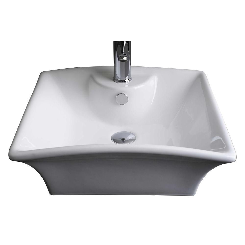 20-inch W x 17-inch D Rectangular Vessel Sink in White with Brushed Nickel